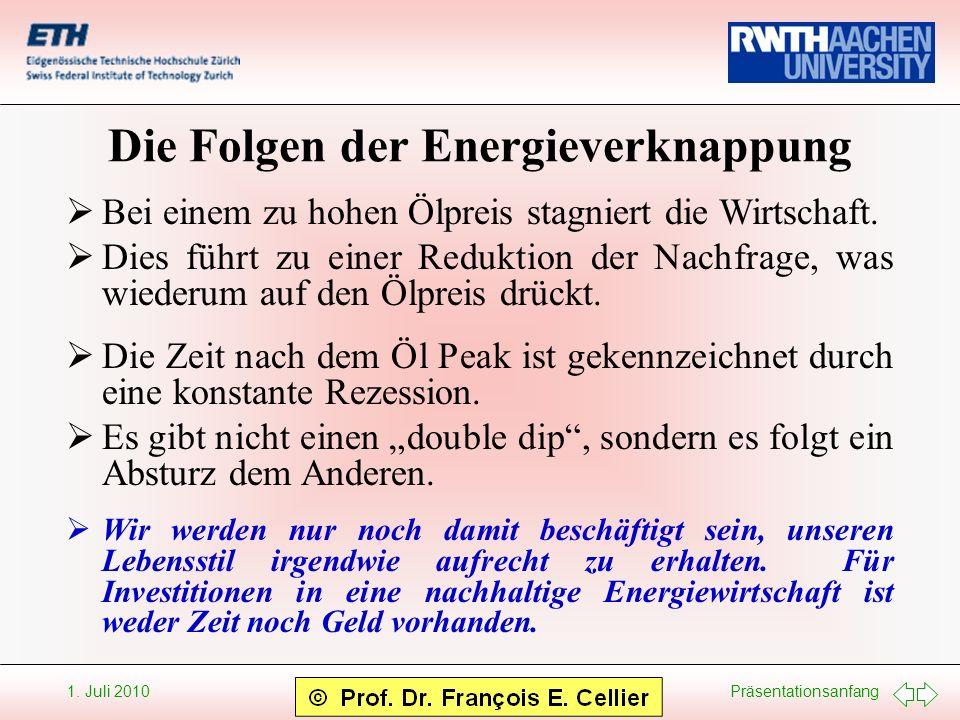 Präsentationsanfang 1. Juli 2010 Die Folgen der Energieverknappung Bei einem zu hohen Ölpreis stagniert die Wirtschaft. Dies führt zu einer Reduktion