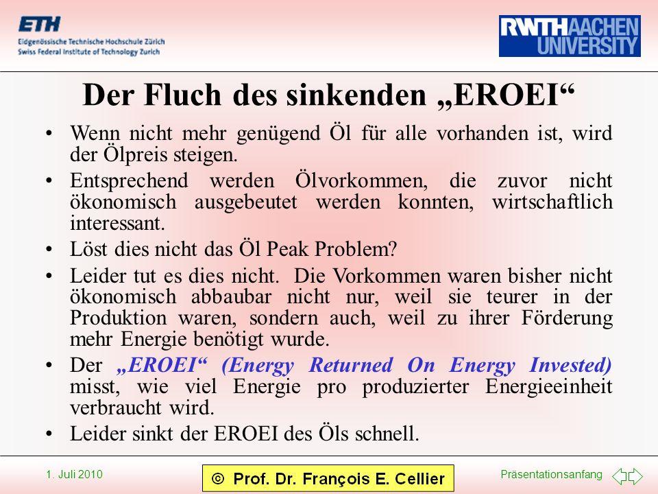 Präsentationsanfang 1. Juli 2010 Der Fluch des sinkenden EROEI Wenn nicht mehr genügend Öl für alle vorhanden ist, wird der Ölpreis steigen. Entsprech