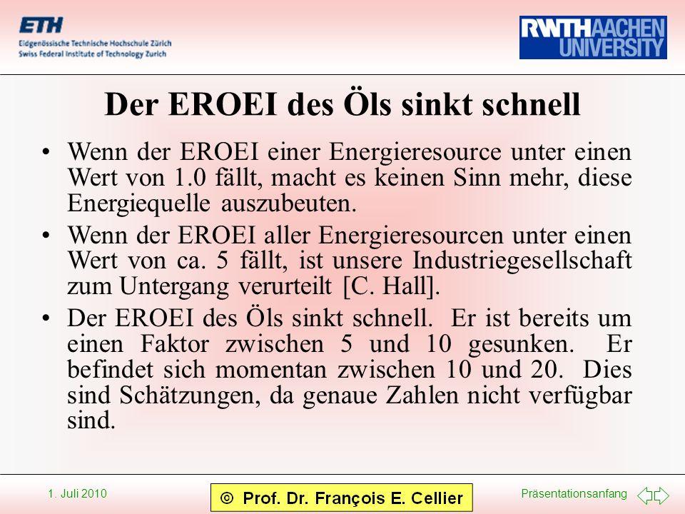 Präsentationsanfang 1. Juli 2010 Der EROEI des Öls sinkt schnell Wenn der EROEI einer Energieresource unter einen Wert von 1.0 fällt, macht es keinen