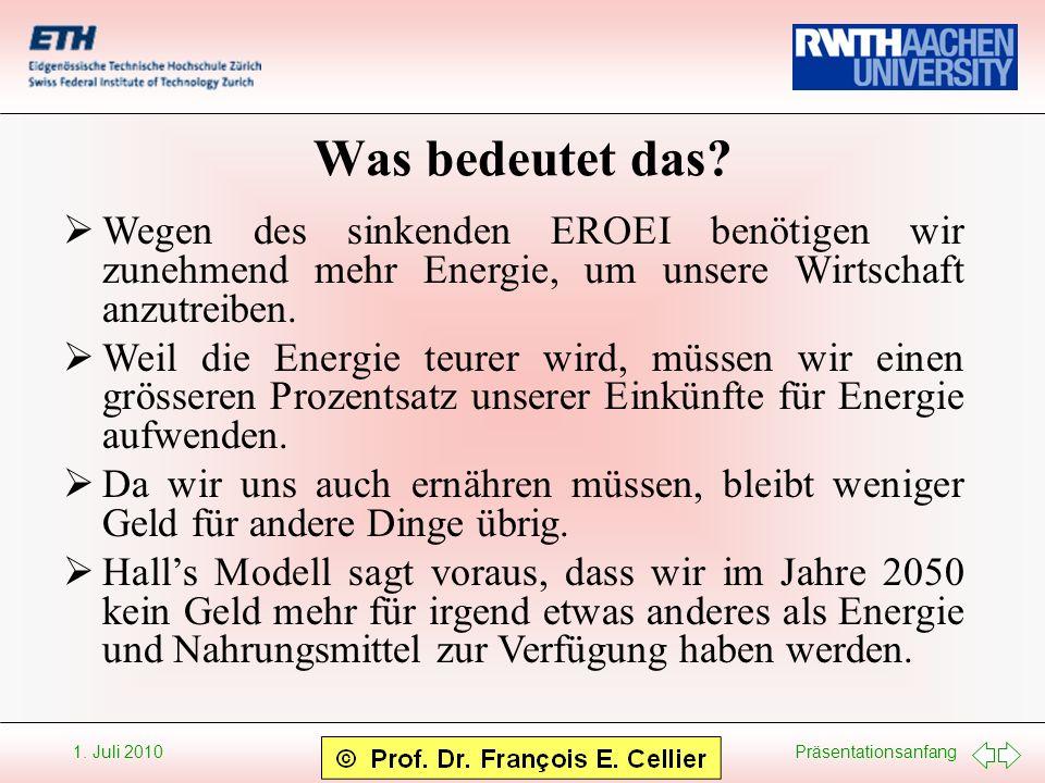 Präsentationsanfang 1. Juli 2010 Was bedeutet das? Wegen des sinkenden EROEI benötigen wir zunehmend mehr Energie, um unsere Wirtschaft anzutreiben. W