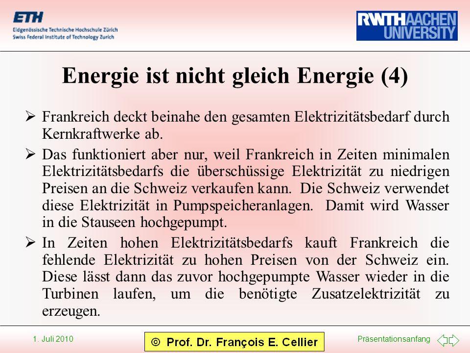 Präsentationsanfang 1. Juli 2010 Energie ist nicht gleich Energie (4) Frankreich deckt beinahe den gesamten Elektrizitätsbedarf durch Kernkraftwerke a
