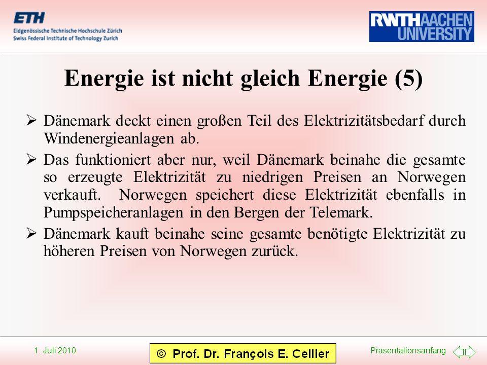 Präsentationsanfang 1. Juli 2010 Energie ist nicht gleich Energie (5) Dänemark deckt einen großen Teil des Elektrizitätsbedarf durch Windenergieanlage