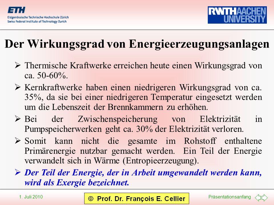 Präsentationsanfang 1. Juli 2010 Der Wirkungsgrad von Energieerzeugungsanlagen Thermische Kraftwerke erreichen heute einen Wirkungsgrad von ca. 50-60%