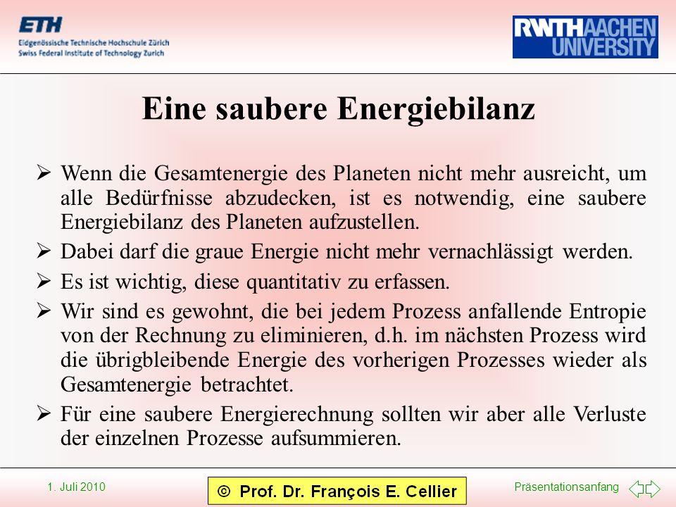 Präsentationsanfang 1. Juli 2010 Eine saubere Energiebilanz Wenn die Gesamtenergie des Planeten nicht mehr ausreicht, um alle Bedürfnisse abzudecken,