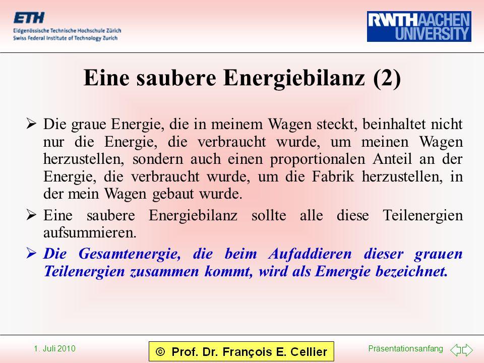 Präsentationsanfang 1. Juli 2010 Eine saubere Energiebilanz (2) Die graue Energie, die in meinem Wagen steckt, beinhaltet nicht nur die Energie, die v