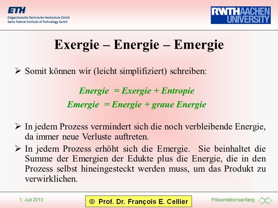 Präsentationsanfang 1. Juli 2010 Exergie – Energie – Emergie Somit können wir (leicht simplifiziert) schreiben: Energie = Exergie + Entropie Emergie =