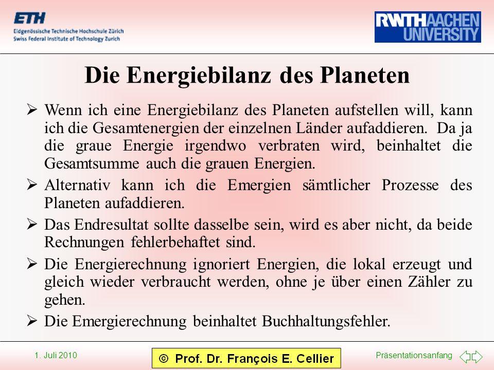 Präsentationsanfang 1. Juli 2010 Die Energiebilanz des Planeten Wenn ich eine Energiebilanz des Planeten aufstellen will, kann ich die Gesamtenergien