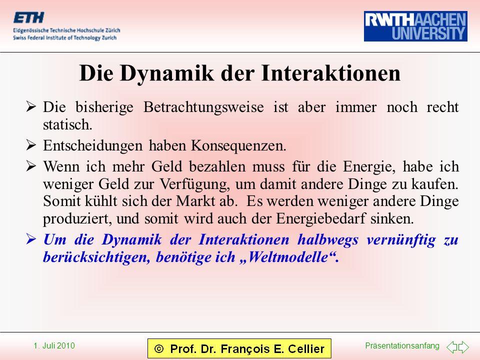 Präsentationsanfang 1. Juli 2010 Die Dynamik der Interaktionen Die bisherige Betrachtungsweise ist aber immer noch recht statisch. Entscheidungen habe