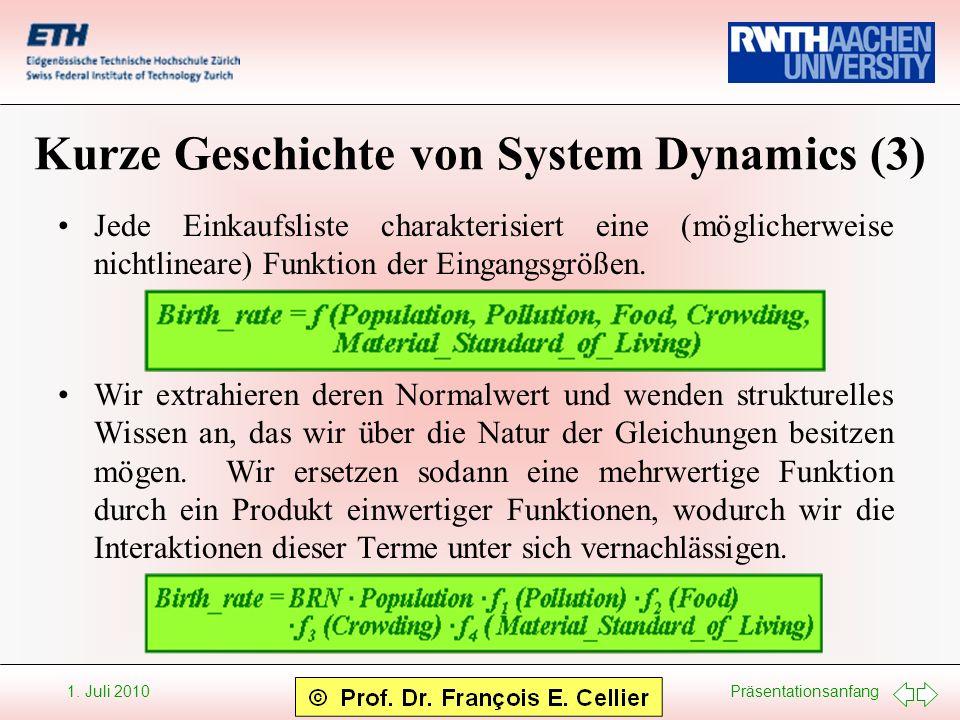 Präsentationsanfang 1. Juli 2010 Kurze Geschichte von System Dynamics (3) Jede Einkaufsliste charakterisiert eine (möglicherweise nichtlineare) Funkti