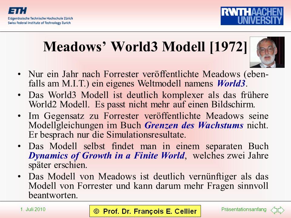 Präsentationsanfang 1. Juli 2010 Meadows World3 Modell [1972] Nur ein Jahr nach Forrester veröffentlichte Meadows (eben- falls am M.I.T.) ein eigenes