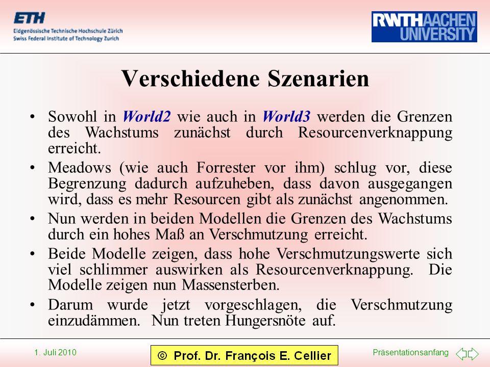 Präsentationsanfang 1. Juli 2010 Verschiedene Szenarien Sowohl in World2 wie auch in World3 werden die Grenzen des Wachstums zunächst durch Resourcenv