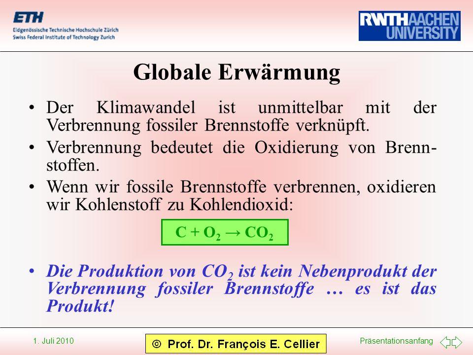 Präsentationsanfang 1. Juli 2010 Globale Erwärmung Der Klimawandel ist unmittelbar mit der Verbrennung fossiler Brennstoffe verknüpft. Verbrennung bed
