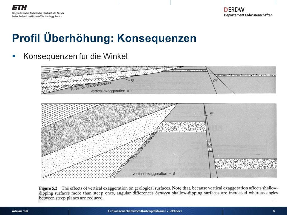 Adrian Gilli6Erdwissenschaftliches Kartenpraktikum I - Lektion 1 Profil Überhöhung: Konsequenzen Konsequenzen für die Winkel