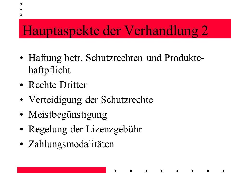 Hauptaspekte der Verhandlung 2 Haftung betr. Schutzrechten und Produkte- haftpflicht Rechte Dritter Verteidigung der Schutzrechte Meistbegünstigung Re