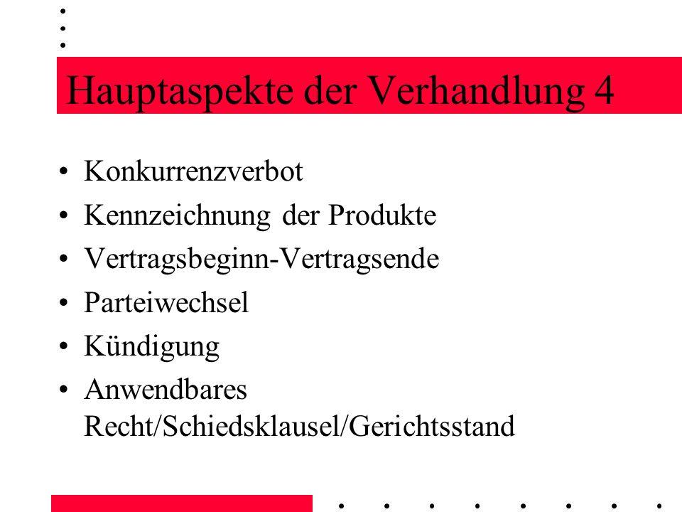 Hauptaspekte der Verhandlung 4 Konkurrenzverbot Kennzeichnung der Produkte Vertragsbeginn-Vertragsende Parteiwechsel Kündigung Anwendbares Recht/Schie