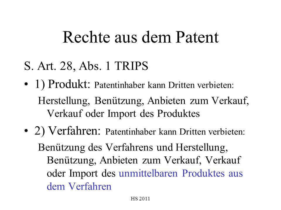 HS 2011 Rechte aus dem Patent S. Art. 28, Abs. 1 TRIPS 1) Produkt: Patentinhaber kann Dritten verbieten: Herstellung, Benützung, Anbieten zum Verkauf,