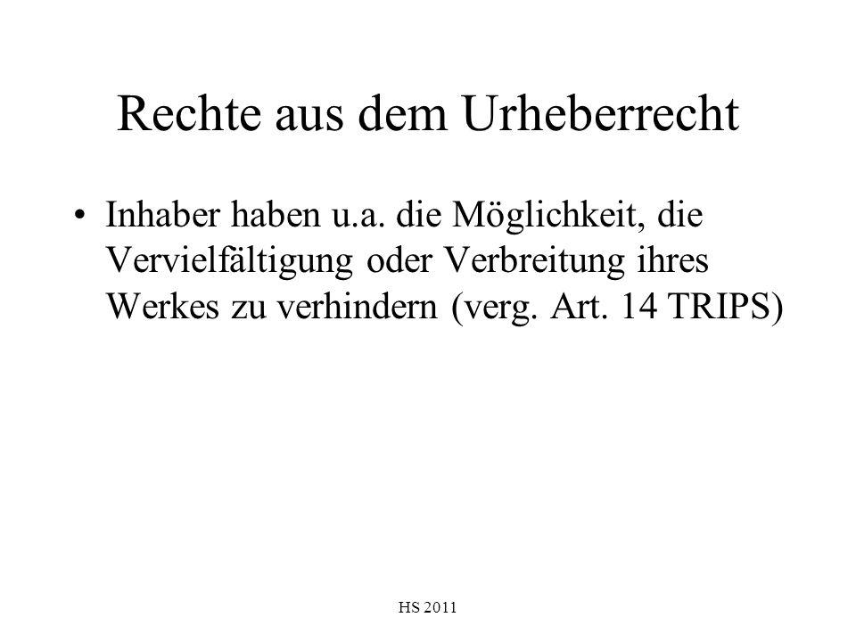 HS 2011 Rechte aus dem Urheberrecht Inhaber haben u.a. die Möglichkeit, die Vervielfältigung oder Verbreitung ihres Werkes zu verhindern (verg. Art. 1