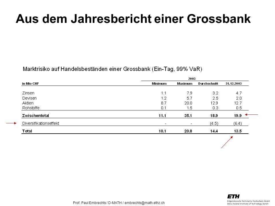 26. April 2005 Prof. Paul Embrechts / D-MATH / embrechts@math.ethz.ch 11 Aus dem Jahresbericht einer Grossbank