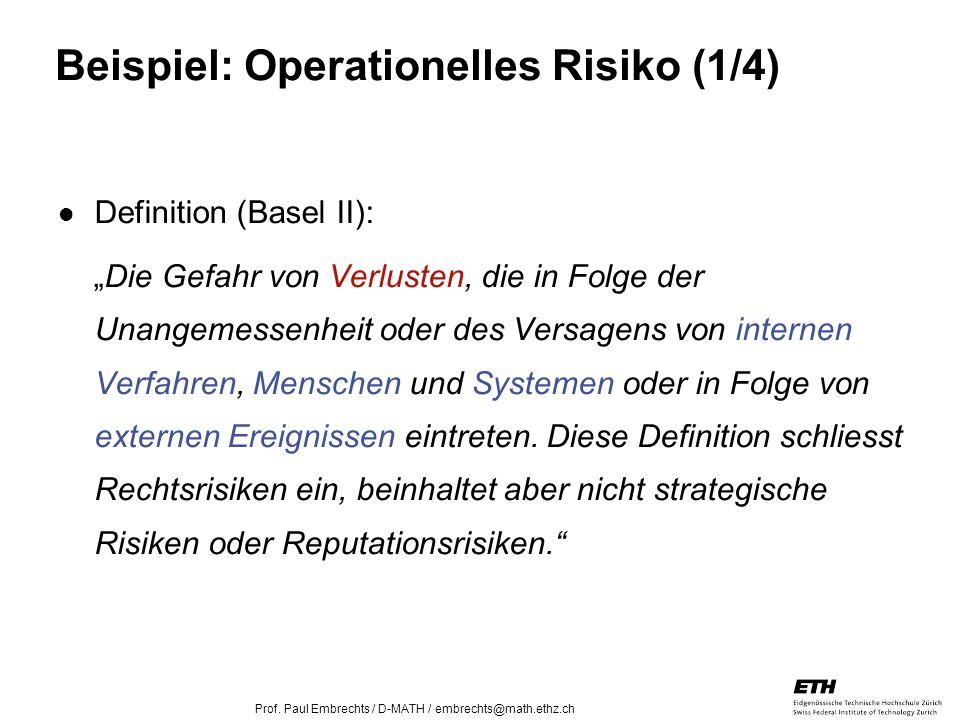 26. April 2005 Prof. Paul Embrechts / D-MATH / embrechts@math.ethz.ch 19 Beispiel: Operationelles Risiko (1/4) Definition (Basel II): Die Gefahr von V