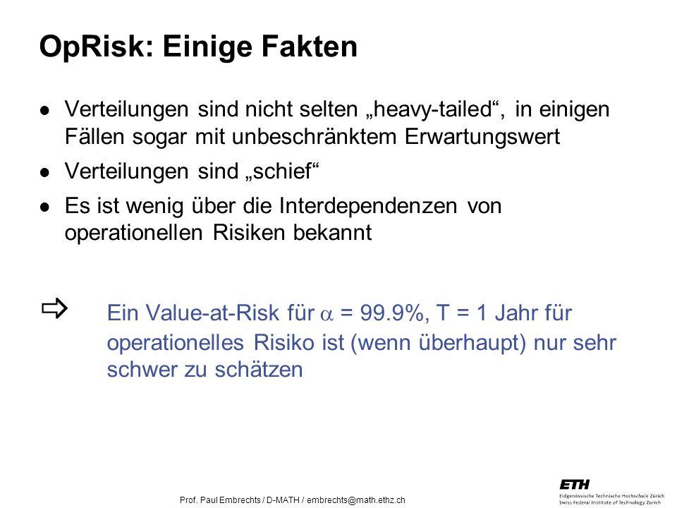 26. April 2005 Prof. Paul Embrechts / D-MATH / embrechts@math.ethz.ch 24 OpRisk: Einige Fakten Verteilungen sind nicht selten heavy-tailed, in einigen