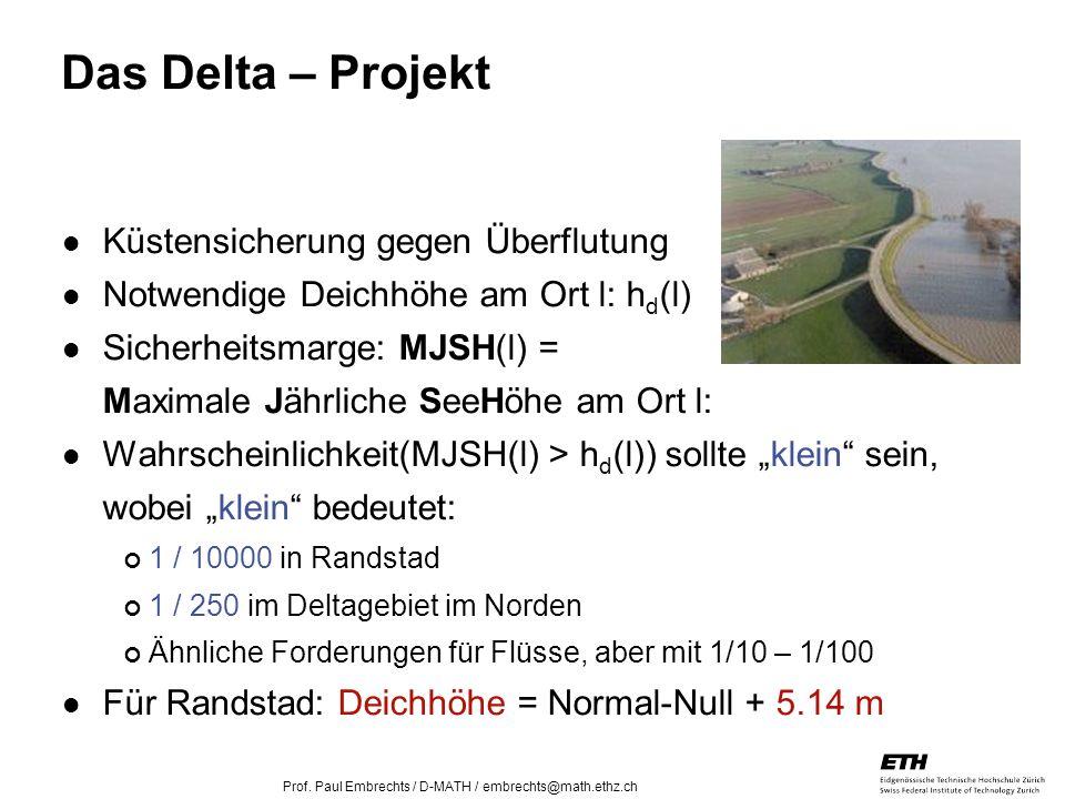 26. April 2005 Prof. Paul Embrechts / D-MATH / embrechts@math.ethz.ch 7 Das Delta – Projekt Küstensicherung gegen Überflutung Notwendige Deichhöhe am