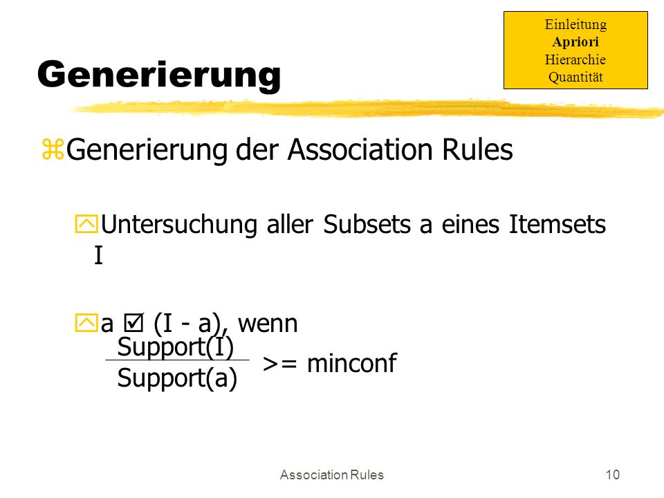 Association Rules11 minconf=75% Beispiel: Generierung I={2,3,4} [40%] Subsets: {2,3} {4} Support(I) = 40% Support(a)= 50%Confidence = 80 %OK.