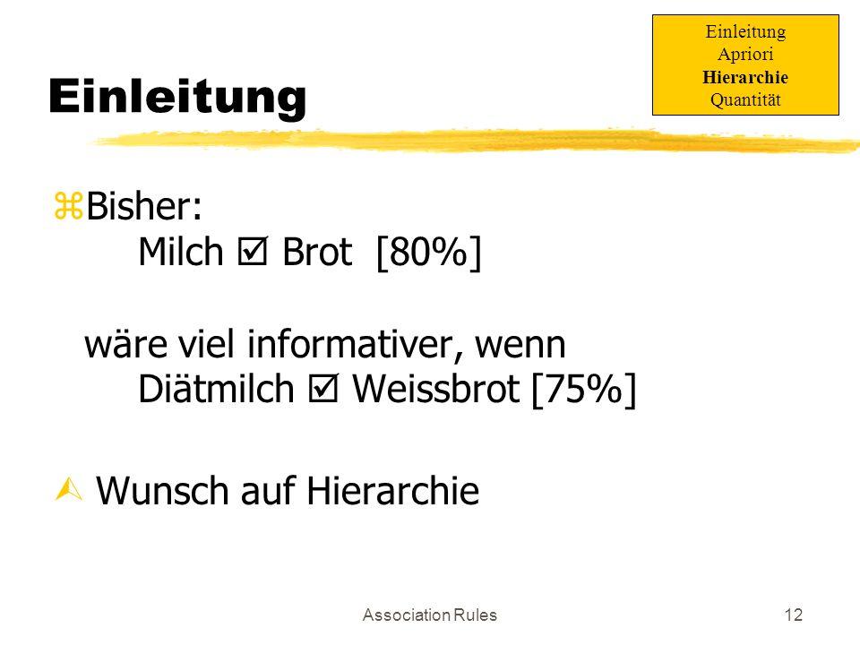Association Rules13 Beispiel Esswaren MilchBrot...