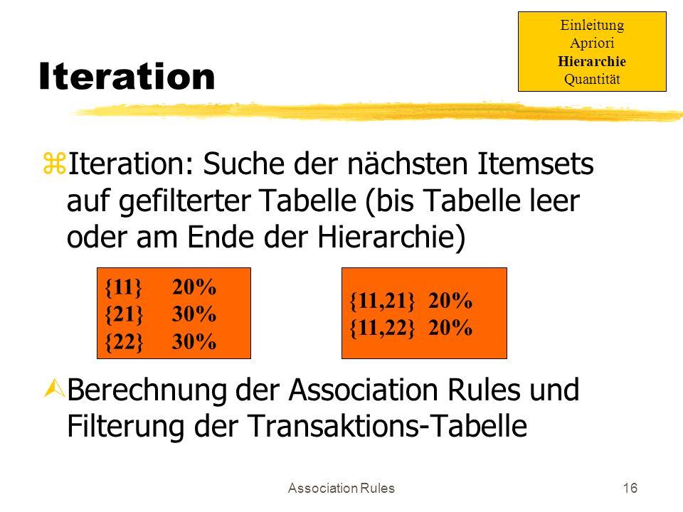 Association Rules17 Einleitung zBisher: nur binäre Association Rules z.B.