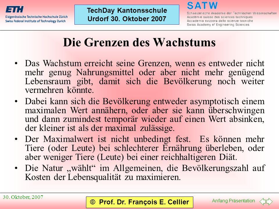 Anfang Präsentation © Prof. Dr. François E. Cellier TechDay Kantonsschule Urdorf 30. Oktober 2007 30. Oktober, 2007 Die Grenzen des Wachstums Das Wach