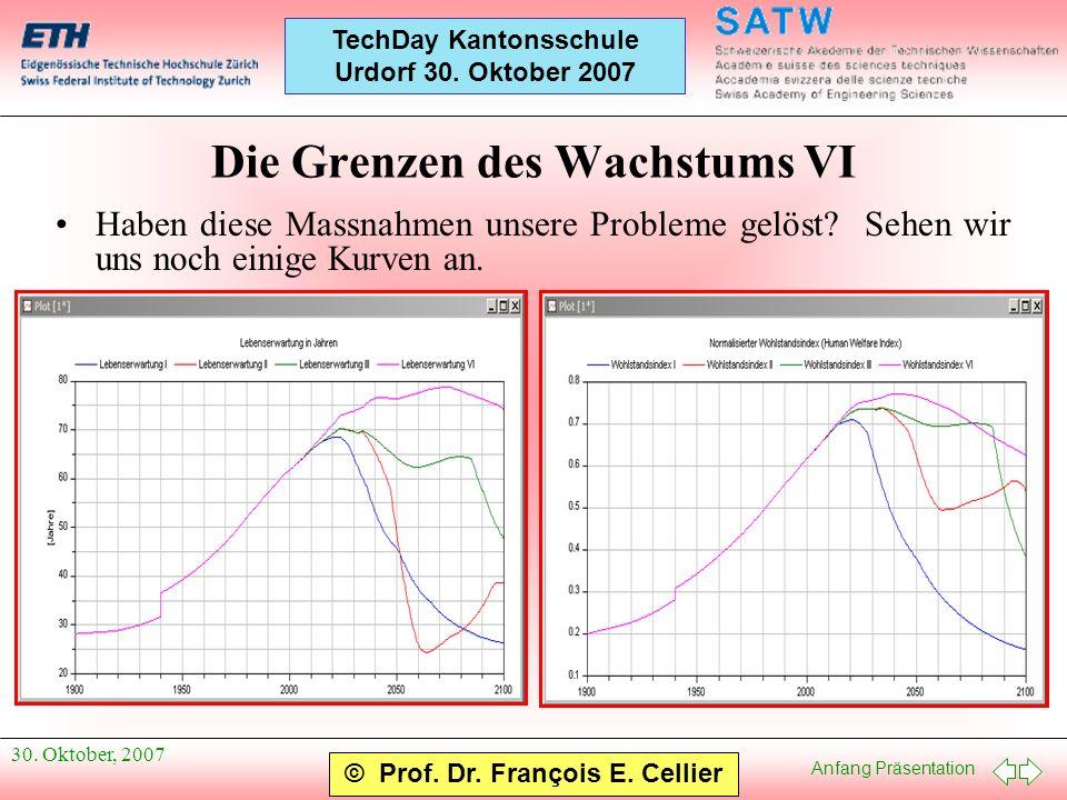 Anfang Präsentation © Prof. Dr. François E. Cellier TechDay Kantonsschule Urdorf 30. Oktober 2007 30. Oktober, 2007 Die Grenzen des Wachstums VI Haben