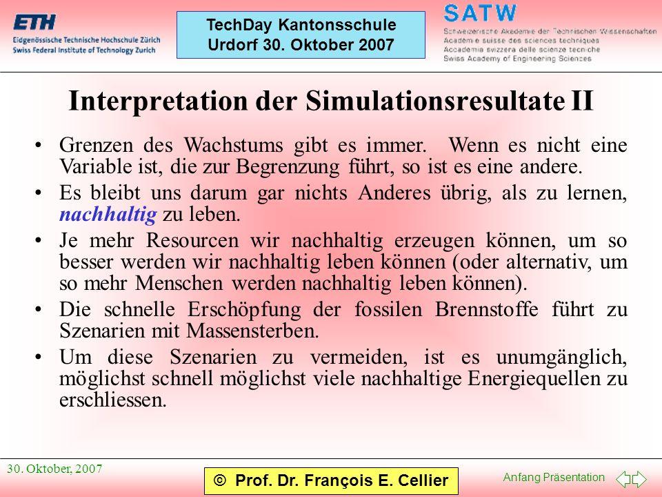 Anfang Präsentation © Prof. Dr. François E. Cellier TechDay Kantonsschule Urdorf 30. Oktober 2007 30. Oktober, 2007 Interpretation der Simulationsresu
