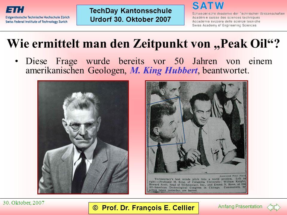 Anfang Präsentation © Prof. Dr. François E. Cellier TechDay Kantonsschule Urdorf 30. Oktober 2007 30. Oktober, 2007 Wie ermittelt man den Zeitpunkt vo