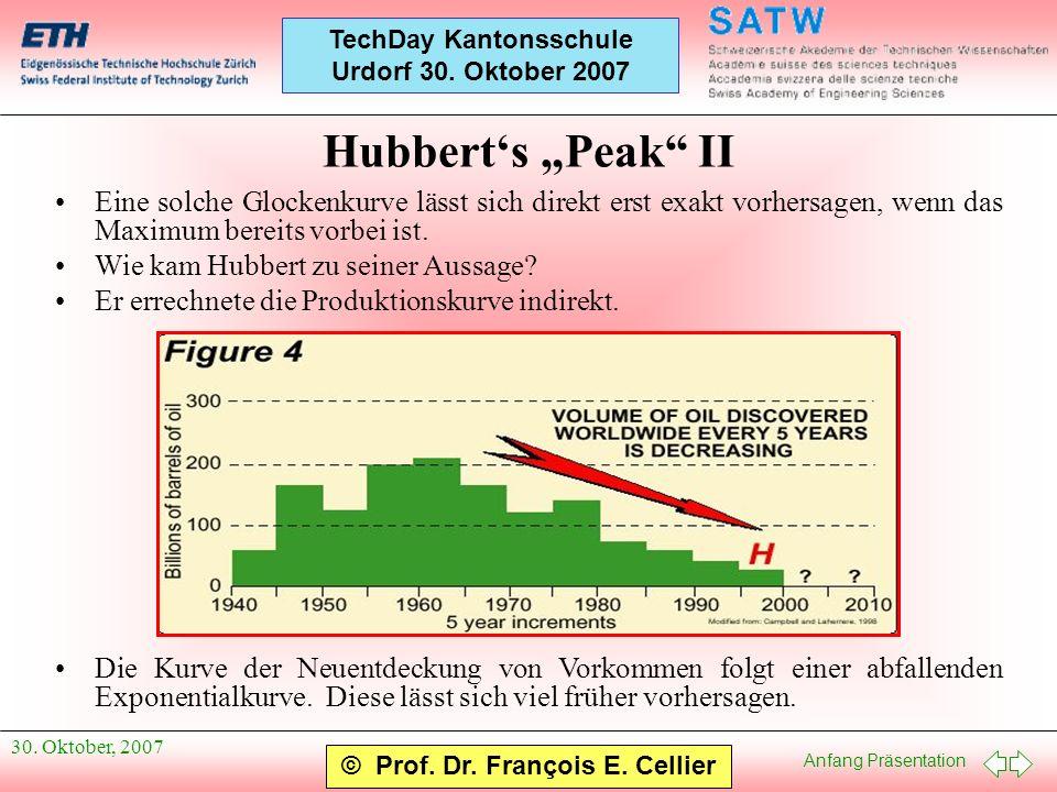 Anfang Präsentation © Prof. Dr. François E. Cellier TechDay Kantonsschule Urdorf 30. Oktober 2007 30. Oktober, 2007 Hubberts Peak II Eine solche Glock