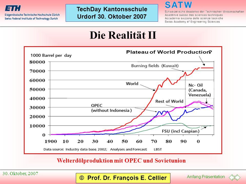 Anfang Präsentation © Prof. Dr. François E. Cellier TechDay Kantonsschule Urdorf 30. Oktober 2007 30. Oktober, 2007 Die Realität II Welterdölproduktio
