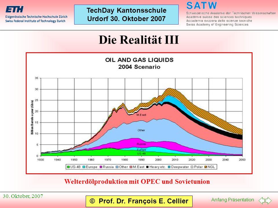 Anfang Präsentation © Prof. Dr. François E. Cellier TechDay Kantonsschule Urdorf 30. Oktober 2007 30. Oktober, 2007 Die Realität III Welterdölprodukti