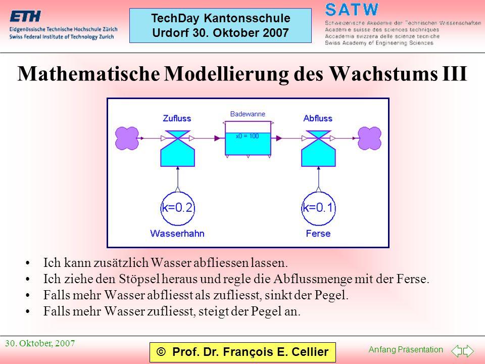 Anfang Präsentation © Prof. Dr. François E. Cellier TechDay Kantonsschule Urdorf 30. Oktober 2007 30. Oktober, 2007 Mathematische Modellierung des Wac