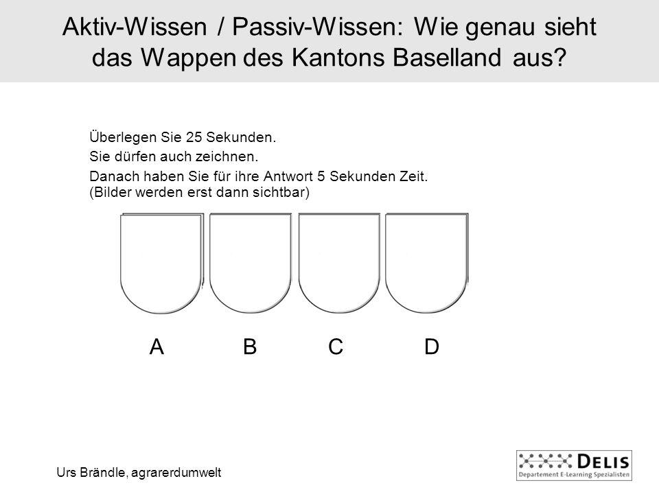 Urs Brändle, agrarerdumwelt Aktiv-Wissen / Passiv-Wissen: Wie genau sieht das Wappen des Kantons Baselland aus.