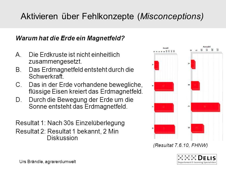 Urs Brändle, agrarerdumwelt Aktivieren über Fehlkonzepte (Misconceptions) Warum hat die Erde ein Magnetfeld.