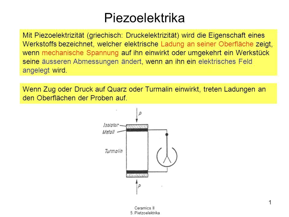 Ceramics II 5. Pietzoelektrika 1 Piezoelektrika Mit Piezoelektrizität (griechisch: Druckelektrizität) wird die Eigenschaft eines Werkstoffs bezeichnet