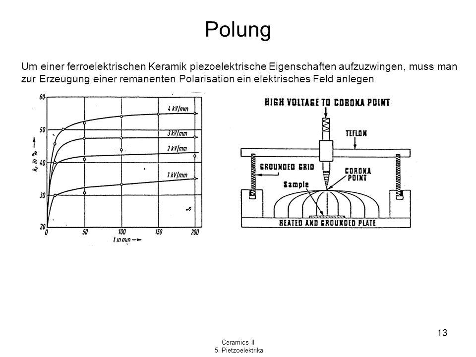 Ceramics II 5. Pietzoelektrika 13 Polung Um einer ferroelektrischen Keramik piezoelektrische Eigenschaften aufzuzwingen, muss man zur Erzeugung einer