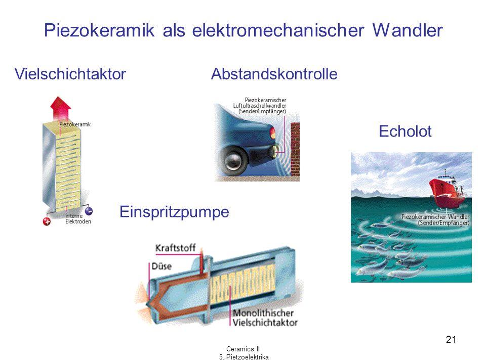Ceramics II 5. Pietzoelektrika 21 Piezokeramik als elektromechanischer Wandler Vielschichtaktor Einspritzpumpe Abstandskontrolle Echolot