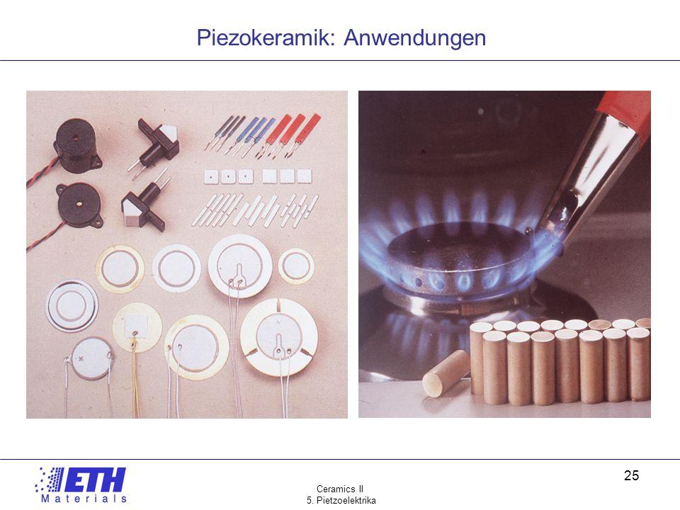 Ceramics II 5. Pietzoelektrika 25 Piezokeramik: Anwendungen