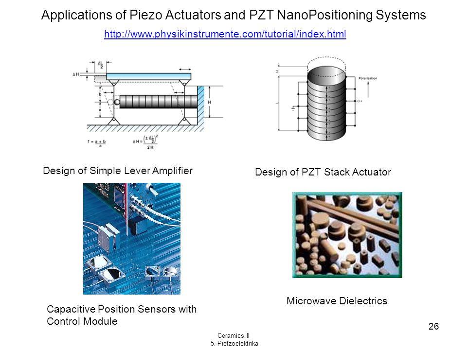 Ceramics II 5. Pietzoelektrika 26 Applications of Piezo Actuators and PZT NanoPositioning Systems Design of Simple Lever Amplifier Design of PZT Stack