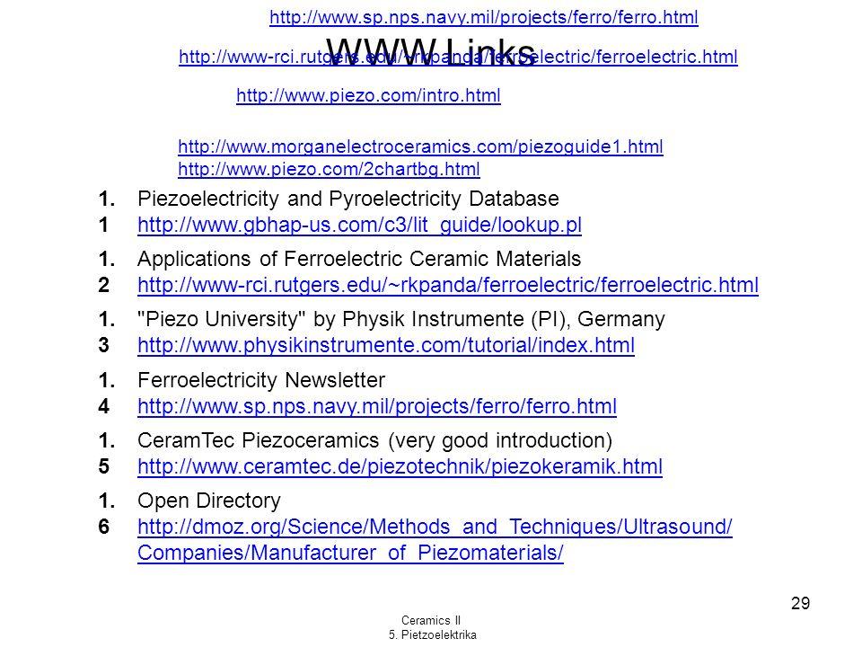Ceramics II 5. Pietzoelektrika 29 WWW Links http://www.piezo.com/intro.html 1. 1 Piezoelectricity and Pyroelectricity Database http://www.gbhap-us.com