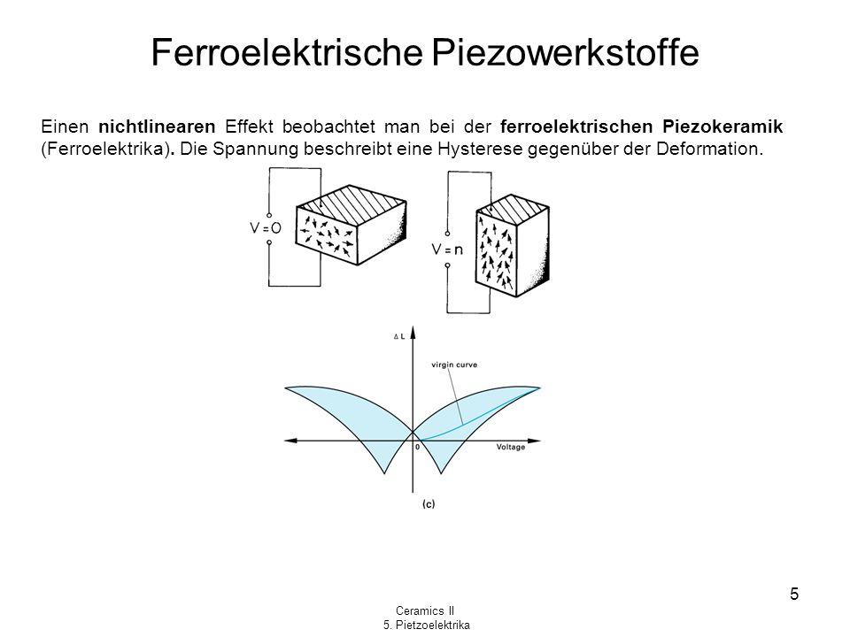 Ceramics II 5. Pietzoelektrika 5 Ferroelektrische Piezowerkstoffe Einen nichtlinearen Effekt beobachtet man bei der ferroelektrischen Piezokeramik (Fe