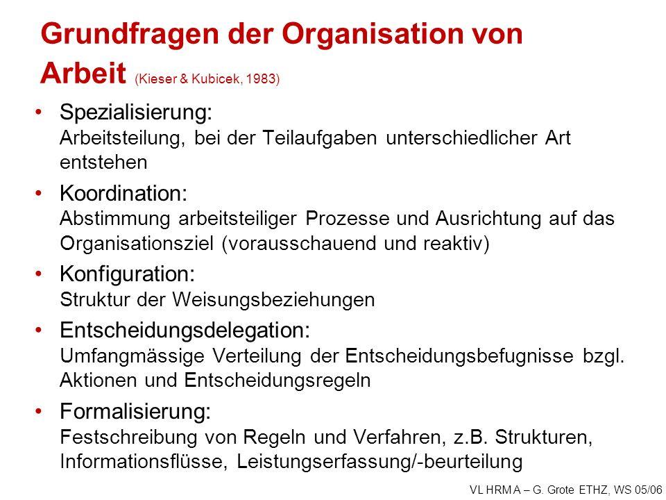 VL HRM A – G. Grote ETHZ, WS 05/06 Grundfragen der Organisation von Arbeit (Kieser & Kubicek, 1983) Spezialisierung: Arbeitsteilung, bei der Teilaufga