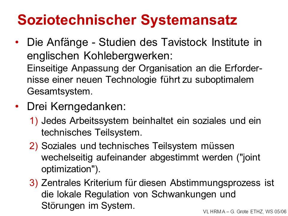 VL HRM A – G. Grote ETHZ, WS 05/06 Soziotechnischer Systemansatz Die Anfänge - Studien des Tavistock Institute in englischen Kohlebergwerken: Einseiti