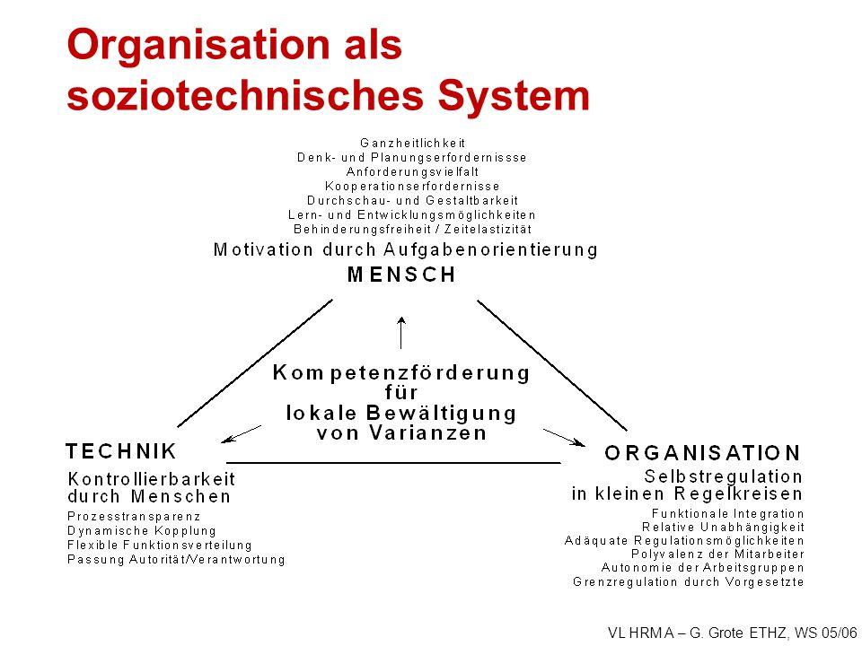 VL HRM A – G. Grote ETHZ, WS 05/06 Organisation als soziotechnisches System