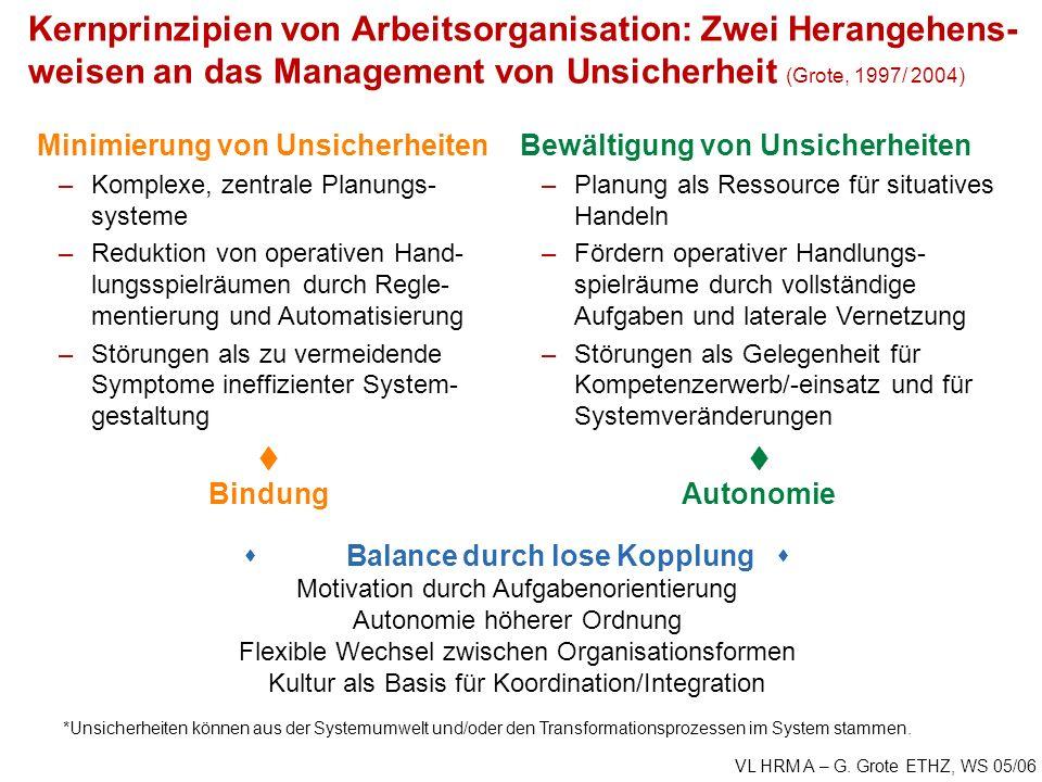 VL HRM A – G. Grote ETHZ, WS 05/06 *Unsicherheiten können aus der Systemumwelt und/oder den Transformationsprozessen im System stammen. Kernprinzipien