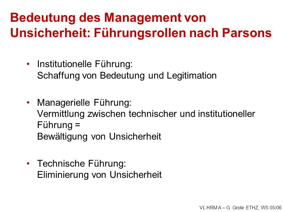 VL HRM A – G. Grote ETHZ, WS 05/06 Bedeutung des Management von Unsicherheit: Führungsrollen nach Parsons Institutionelle Führung: Schaffung von Bedeu